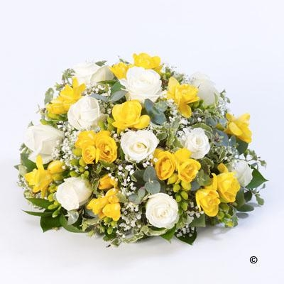 Rose and Freesia Posy   Yellow and White